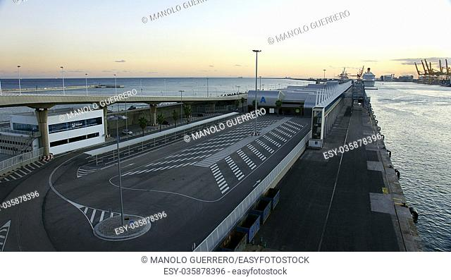 View of the commercial port of Barcelona province of Catalunya, Spain