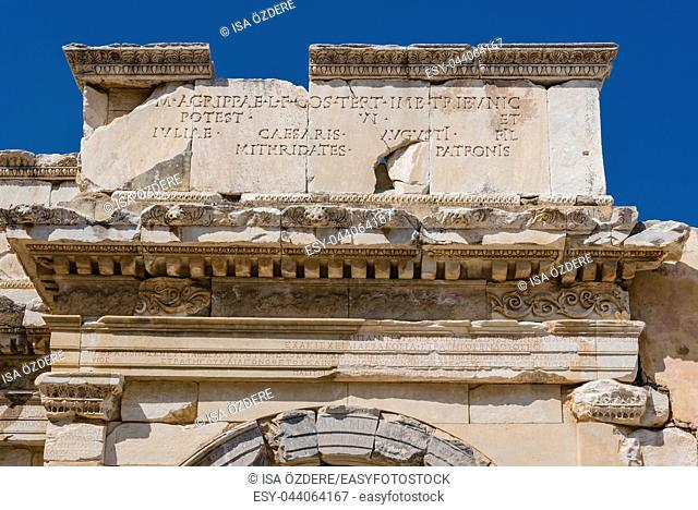 Close Detailed view of Ancient Celsus Library at Ephesus historical ancient city, in Selcuk, Izmir, Turkey