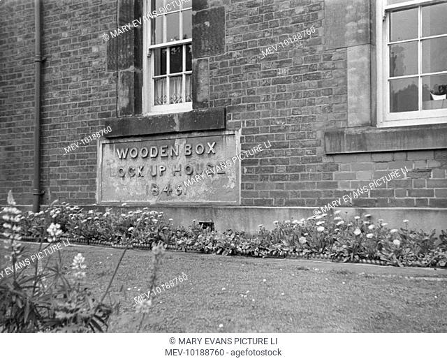 This rather amusing foundation stone, with its inscription of 'Wooden Box Lock Up House, 1846', is at Woodville Police Station, Derbyshire, England