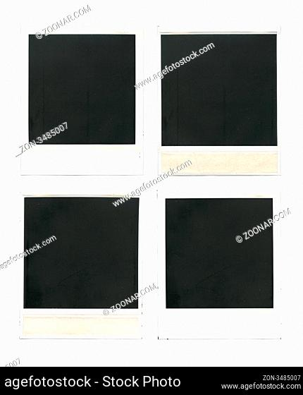 Set of old blank cards isolated over white