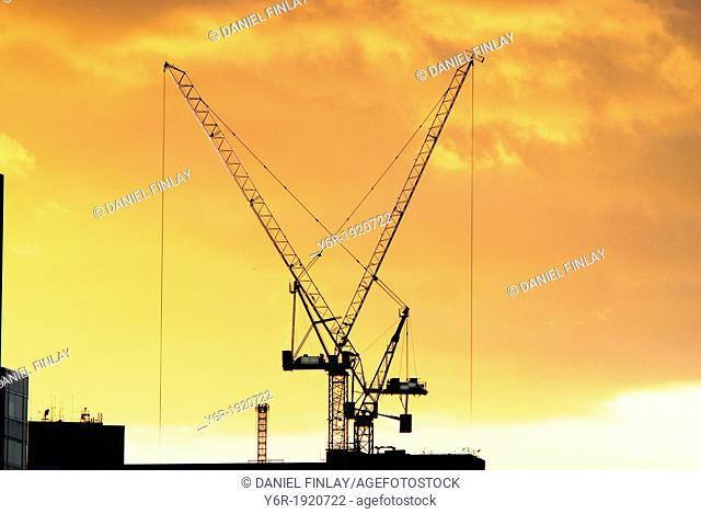 Giant cranes on the South Bank of the Thames in London, England, caught in a Winter sunset