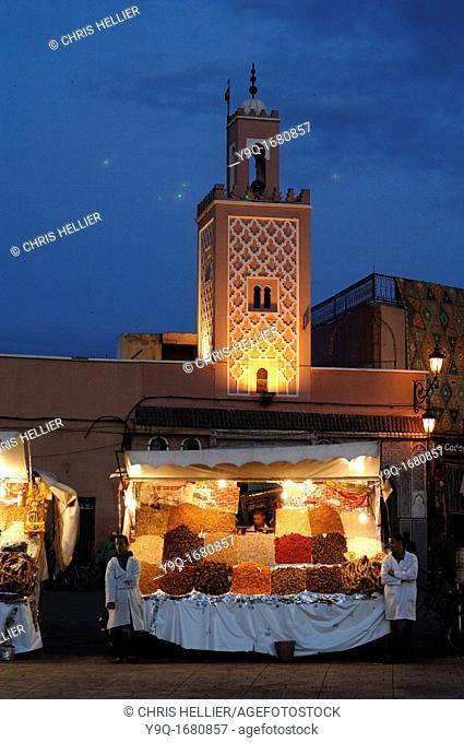 Evening Food Stall Djemaa El-Fna or Jemaa el Fna Square Marrakesh or Marrakech Morocco