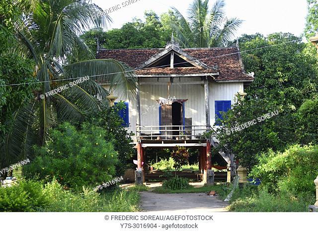 Wooden house on Silk Island, Koh Dach, near Phnom Penh, Cambodia, South East Asia, Asia