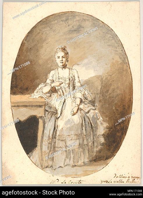 Portrait of Marguerite Le Comte. Artist: Étienne de Lavallée-Poussin (French, Rouen 1733-1793 Paris); Date: 1764; Medium: Black chalk, pen and brown ink