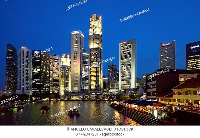 The Financial district and Singapore River, Singapore