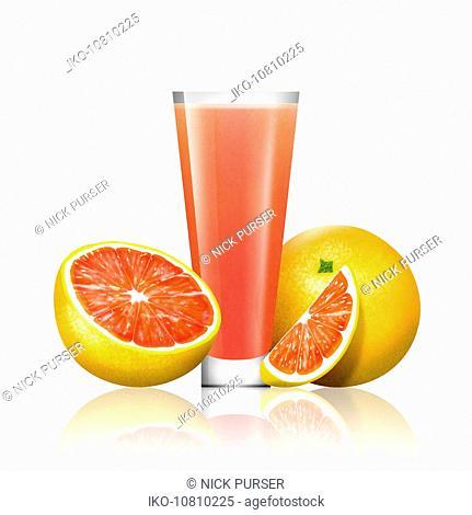 Fresh grapefruit and glass of grapefruit juice