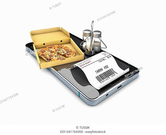 3d illustration of Online order pizza. isolated white
