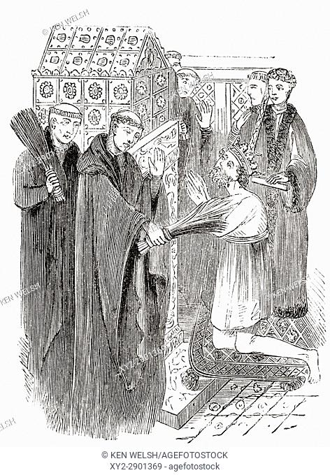 """Penance of Henry II aka Henry Curtmantle (1133 â. """"1189) at Thomas Beckets shrine. From The National and Domestic History of England by William Aubrey published..."""