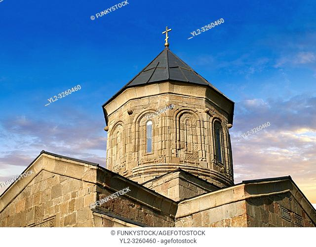 Pictures & images of Gergeti Holy Trinity (Tsminda Sameba) Georgian Orthodox and Apostolic Church cupola close up, 14th century, Gergeti, Khevi province