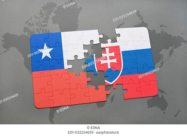 puzzle with the national flag of chile and slovakia on a world map background. 3D illustration
