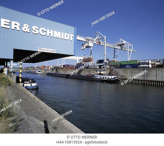 harbor, port, container, freight harbor, transport, ships, Inland harbor Ruhrort, Duisburg-Ruhr place, river, industry