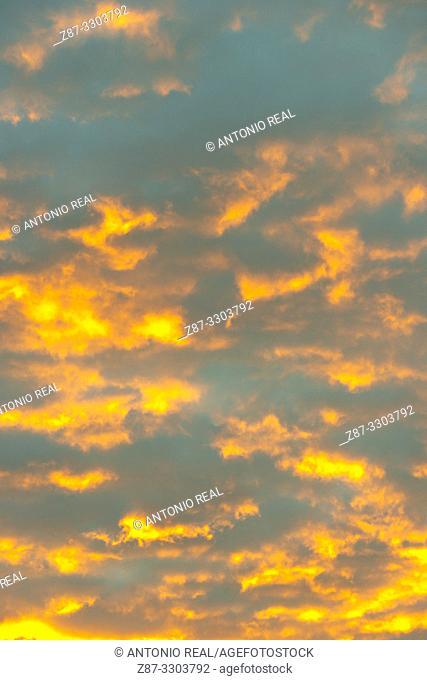 Clouds at sunrise. Almansa. Albacete province, Castile-La Mancha, Spain