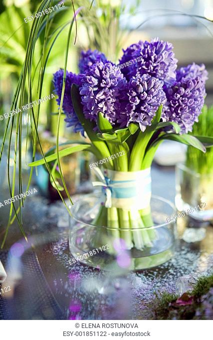 Decoration Of Dining Table Bouquet Hyacinth In Vase Gl