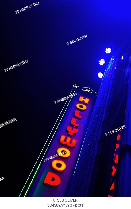 Illuminated 'Hollywood' sign