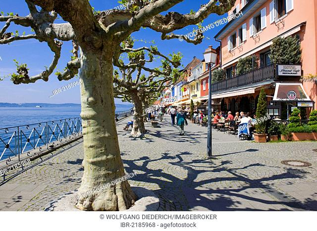 Lakeside promenade, Unterstadt district, Meersburg, Lake Constance, Baden-Wuerttemberg, southern Germany, Germany, Europe