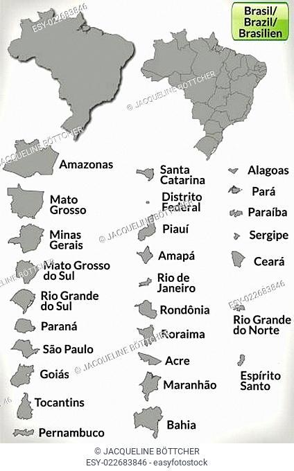 Karte von Brasilien mit Grenzen in Grau