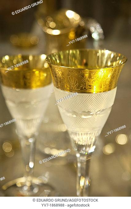 The famous collection 'Splendic' of glassware topped in gold  Karlovy Vary, Bohemia, Czech Republic, Europe