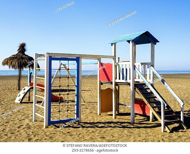 Children playground on the beach of Ostia - Rome, Italy