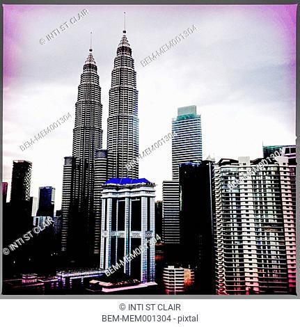 Urban skyscrapers on Kuala Lumpur streets, Malaysia