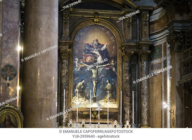 Painting depicting the Trinity in the apse of the Church of the Most Holy Trinity of Pilgrims, 1625, by Guido Reni, Rome, Italy