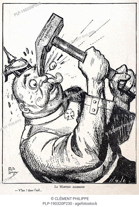 Le Marteau Allemand, WW1 caricature by Italian illustrator Rata Langa showing German Kaiser Wilhelm II hitting himself in the face with Verdun hammer