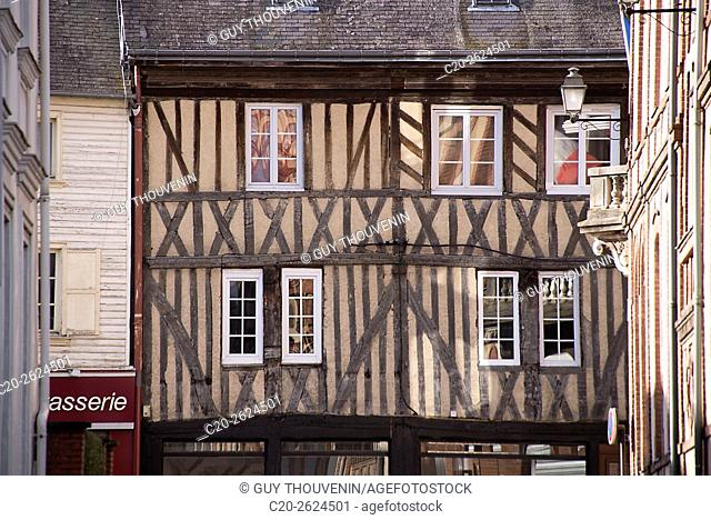 Medieval half timbered facade, with reflections in windows, Bernay, 27, Normandy, France