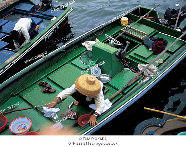Fishermen floating market Sai Kung, Hong Kong