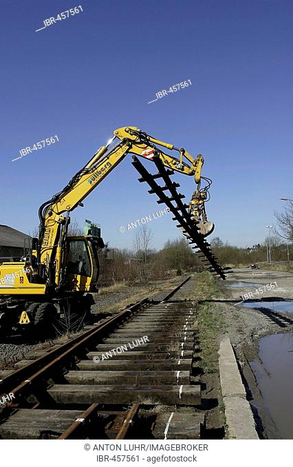 Railway station, tracks and switches get dismantled, Wipperfuerth, North Rhine-Westphalia, Germany