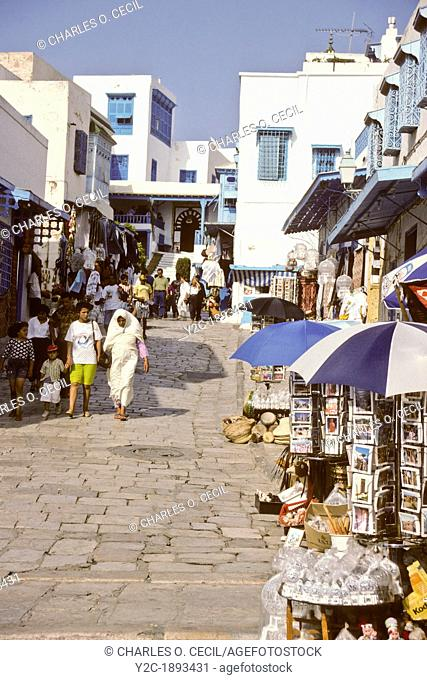 Tunisia, Sidi Bou Said  Main Street, leading to Mosque of Sidi Bou Said and the Cafe des Nattes