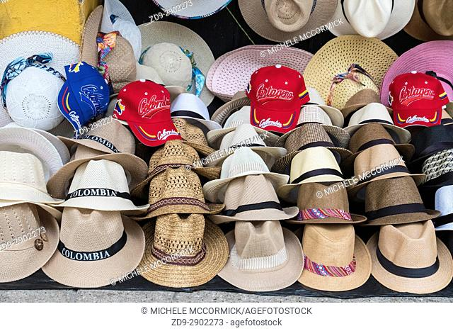 Hats on sale at the market in Cartagena