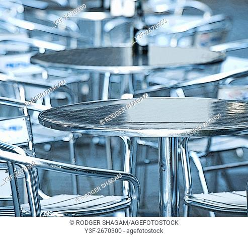 Empty tables at an outdoor eatery. Cape Town, South Africa