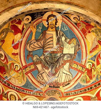 Pantocrator, Romanesque mural painting in Sant Climent de Taüll church. Boí valley, Lleida province. Catalonia. Spain