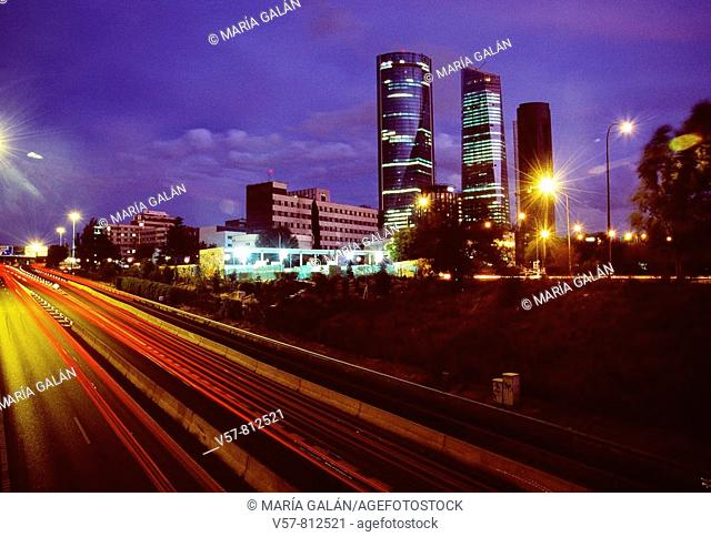 CTBA and M-30 motorway, night view. Madrid, Spain