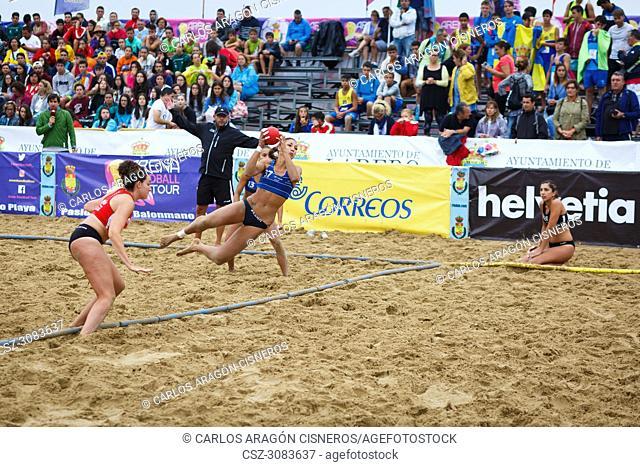 LAREDO, SPAIN - JULY 31: Asun Batista, BMP Algeciras player launches to goal in the Spain handball Championship celebrated in Laredo in July 31, 2016 in Laredo