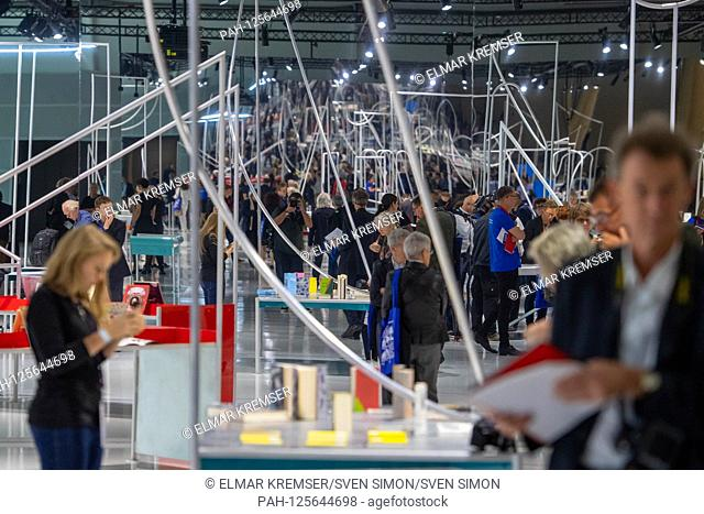 An element in the guesthouse of honor, feature, general, border motif, tables, presentation of the Norway pavilion of the guest of honor Norway at the Frankfurt...