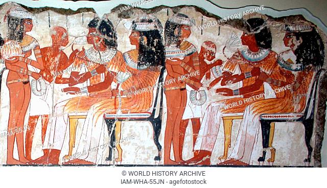 A feast for Nebamun. An entire wall of the tomb-chapel showed a feast in honour of Nebamun. Naked serving girls and servants wait on his friends and relatives