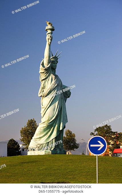 France, Haut-Rhin, Alsace Region, Alasatian Wine Route, Colmar, Statue of Liberty, monument to the designer, F A  Bartoldi, born in Colmar