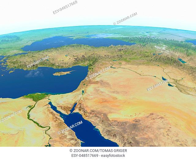 Middle East. 3D illustration with detailed planet surface. Elements of this image furnished by NASA