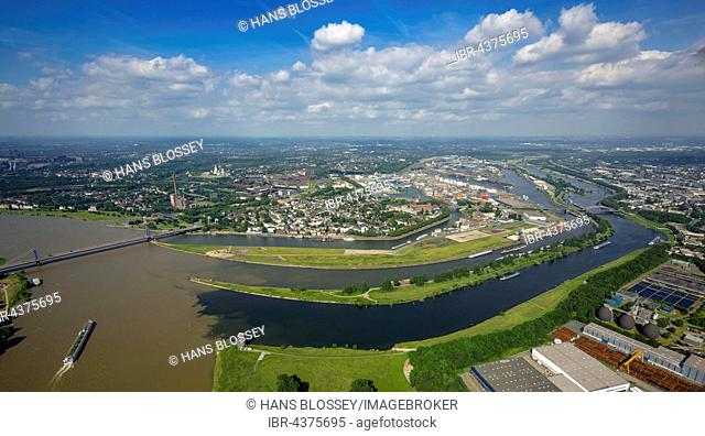 Aerial view, Cargo ship on the Rhine, brown flood mixes with the clean water of the Ruhr, Ruhr estuary, Duisburg, Ruhr district, North Rhine-Westphalia, Germany