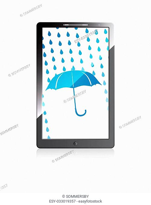 Mobile phone with blue umbrella and rain drops