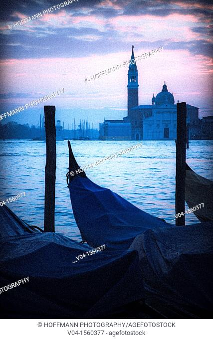 Mystical view of San Giorgio Maggiore with gondolas in the foreground, Venice, Italy, Europe