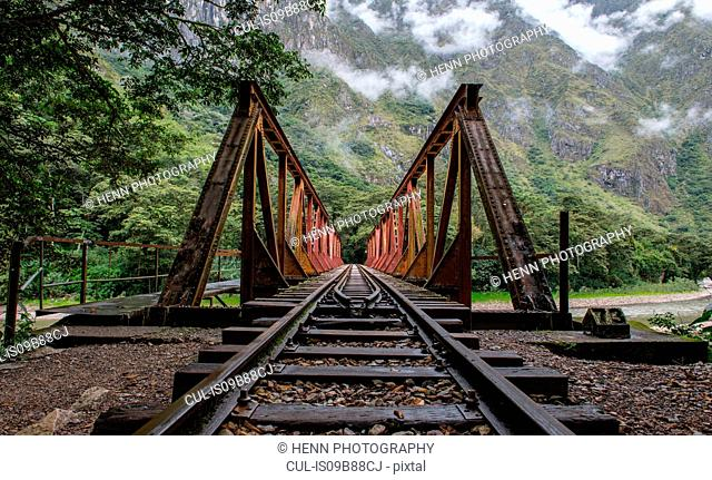 Train tracks that lead up to Aguas Calientes - the starting point for excursions to Machu Picchu, Peru