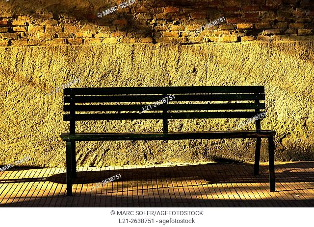 Public bench in a street. Barcelona, Catalonia, Spain