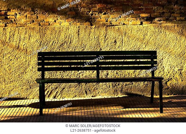 Public bench in a street. Barcelona, Catalonia, Spain