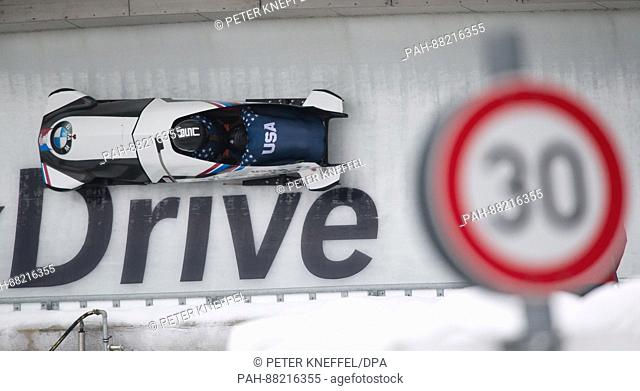 American bobsledders Brittany Reinbolt (l) and Lauren Gibbs in action at the FIBTWorld Championship 2017 in Schoenau am Koenigssee, Germany, 18 February 2017