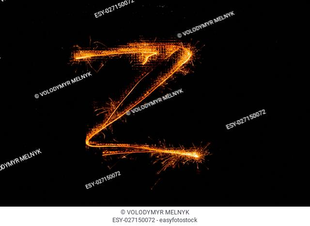 The English letter Z made of sparklers on black background