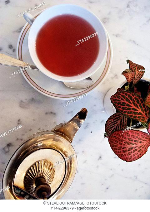 Cup and Teapot of Apple Tea. Pera Palas Hotel, Istanbul, Turkey