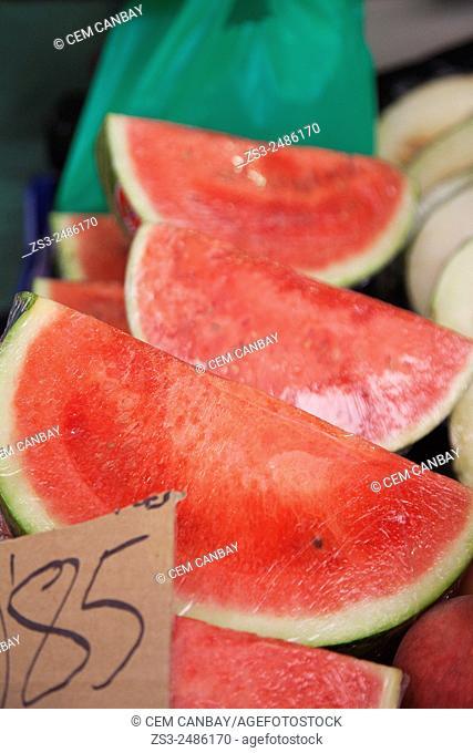 Slices of watermelons at the Mercado de Nuestra Senora de Africa market, Santa Cruz, Tenerife, Canary Islands, Spain, Europe