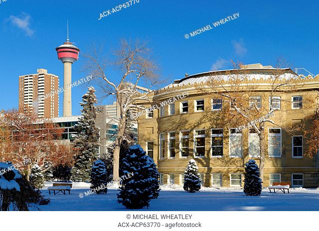 Memorial Park Library and the Calgary Tower in Winter, Calgary, Alberta, Canada