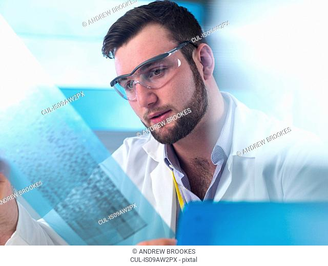 Scientist examining DNA code in laboratory